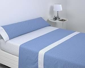 Clara Vidal - Juego de sábanas Staford, Cama 105, azul