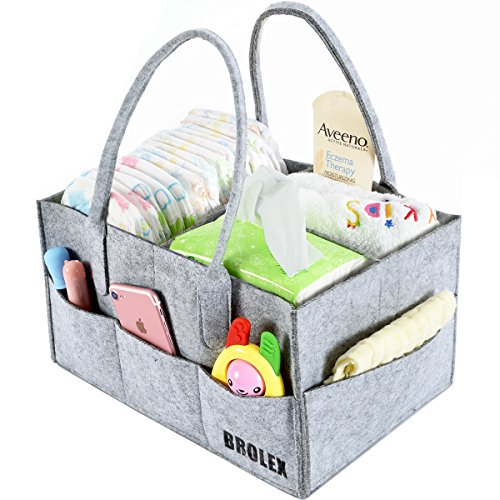 Gray Portable Gear - Baby Diaper Caddy Organizer By Brolex: Large Capacity Nursery Organizer For Boys Girls– Unisex Portable Travel Organizing Basket With Lightweight, Sturdy & Versatile Design,Grey