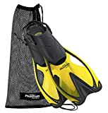 Phantom Aquatics Speed Sport Adjustable Snorkeling Fin, Yellow, Small/Medium (Size 4.5 to 8.5)