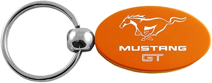 INC Frod Mustang GT Red Aluminum Oval Key Chain Au-Tomotive Gold
