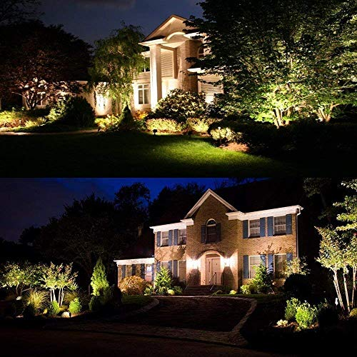 ZUCKEO 5W LED Landscape Lights with Transformer 12V 24V Waterproof Garden Pathway Lights Warm White Walls Trees Flags Outdoor Spotlights with Spike Stand (8 Pack with Transformer) by ZUCKEO (Image #7)