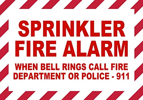 (BuildASign Sprinkler Fire Alarm- When Bell Rings Dial 911 Safety Sign- 7