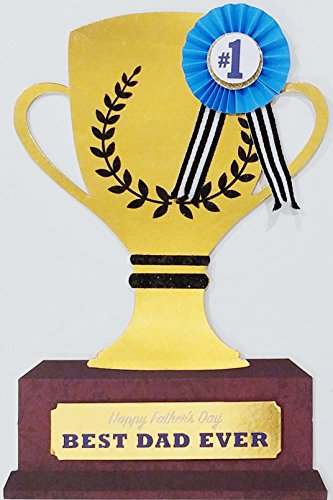 (#1 Best Dad Ever in the world - Happy Father's Day Premium Greeting Card - Trophy Shape