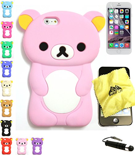 Bukit Cell Bundle: Baby Pink 3D Teddy Bear Soft Silicone Case for 4.7 Inch Iphone 6s / Iphone 6[ NOT for Iphone 6 plus ], Cleaning Cloth , Screen Protector , Metallic Stylus Touch Pen