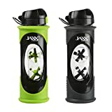 Fit and Fresh 786FFGRNGRYKIT Jaxx Glass Shaker Cup Set, Green/Grey