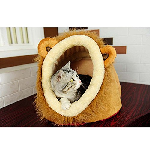 Geekercity Lion Shaped Cute Warm Plush Pet Dog Cat Bed House Condo Cave with Removable Cushion ...