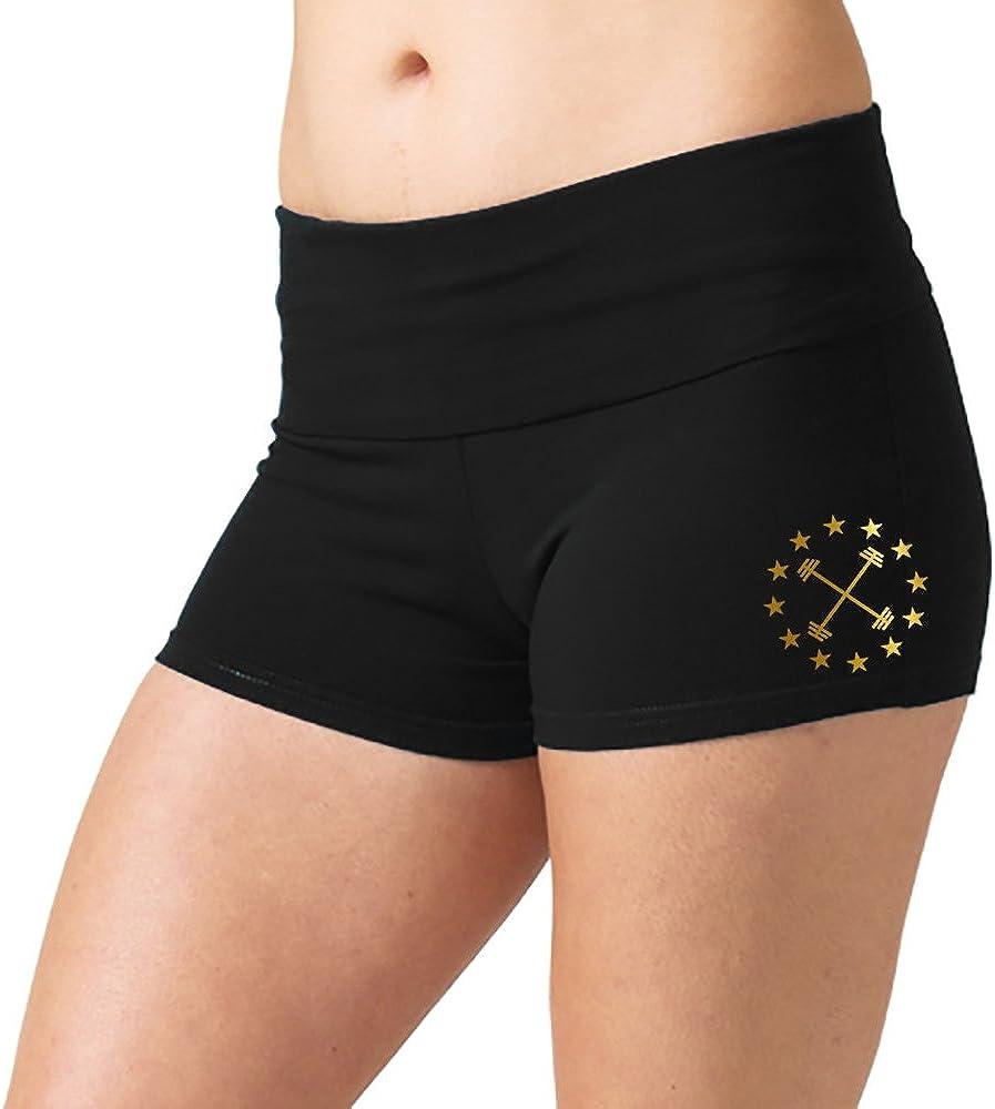 Interstate Apparel Womens Gold Barbell Star Emblem V397 Black Yoga Workout Booty Shorts Black