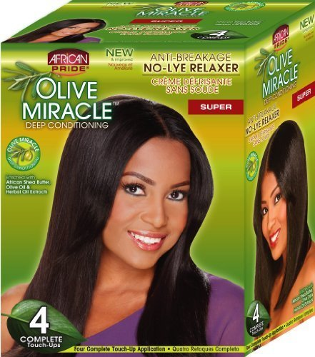 African Pride Olive Miracle Deep Conditioning No-Lye Relaxer - Super Kit 4-Count ()