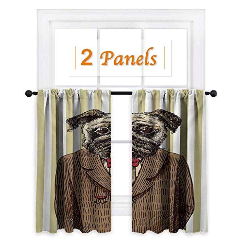Flyerer Pug Window Curtain Fabric Hand Drawn Sketch of Smart Dressed Dog Jacket Shirt Bow Suit Striped Background Drapes for Living Room W72 x L63 Inch Brown Pale Brown