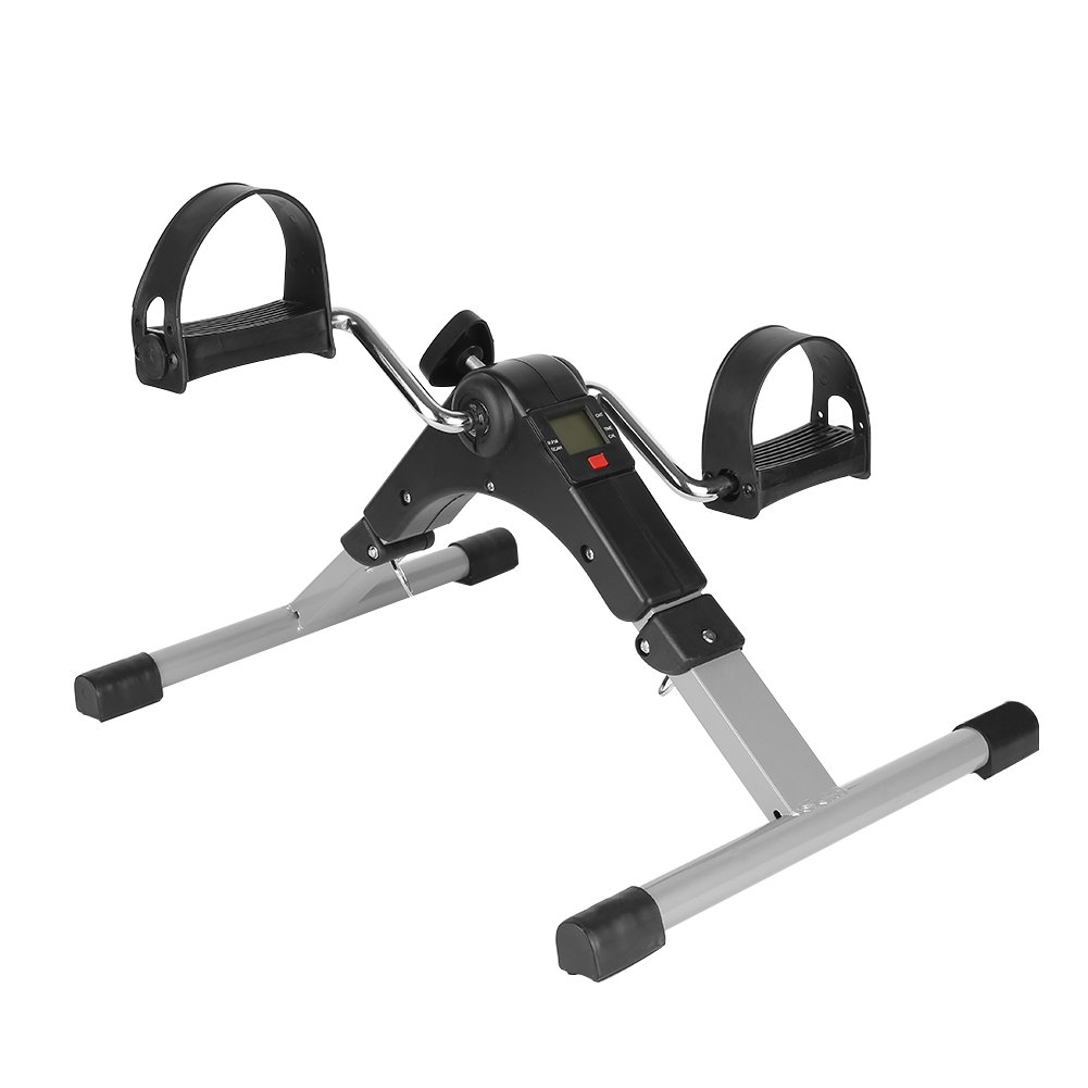 YIFAA Mini V/élo dappartement Argent+Noir P/édalier Pliable Fitness Bike Cardio Sport Appareil dexercice pour Les Bras Les Jambes Entrainement
