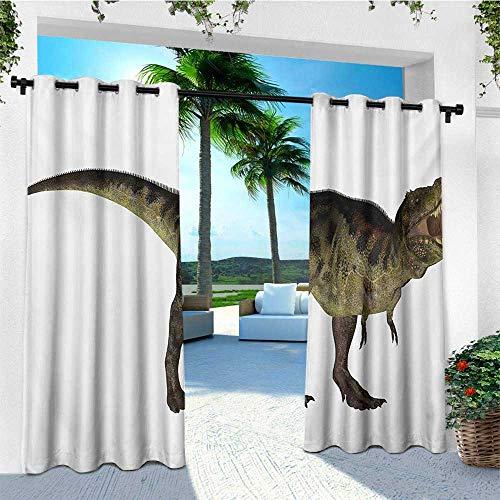 leinuoyi Dinosaur, Outdoor Curtain Waterproof, Tyrannosaurus Dinosaur Illustration Prehistoric Nature Wildlife Reptilian, for Patio Waterproof W72 x L108 Inch Army Green Black ()