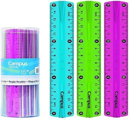 Campus University 600365 - Pack de 36 reglas flexibles, 15 cm, multicolor: Amazon.es: Oficina y papelería