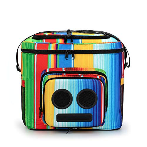 The #1 Cooler with Speakers & Subwoofer (Bluetooth, 15-Watt) for Parties/Festivals/Boat/Beach. Rechargeable Speaker Cooler, Works with iPhone & Android (Rainbow, 2019 Edition) (Water Proof Radio Cooler)