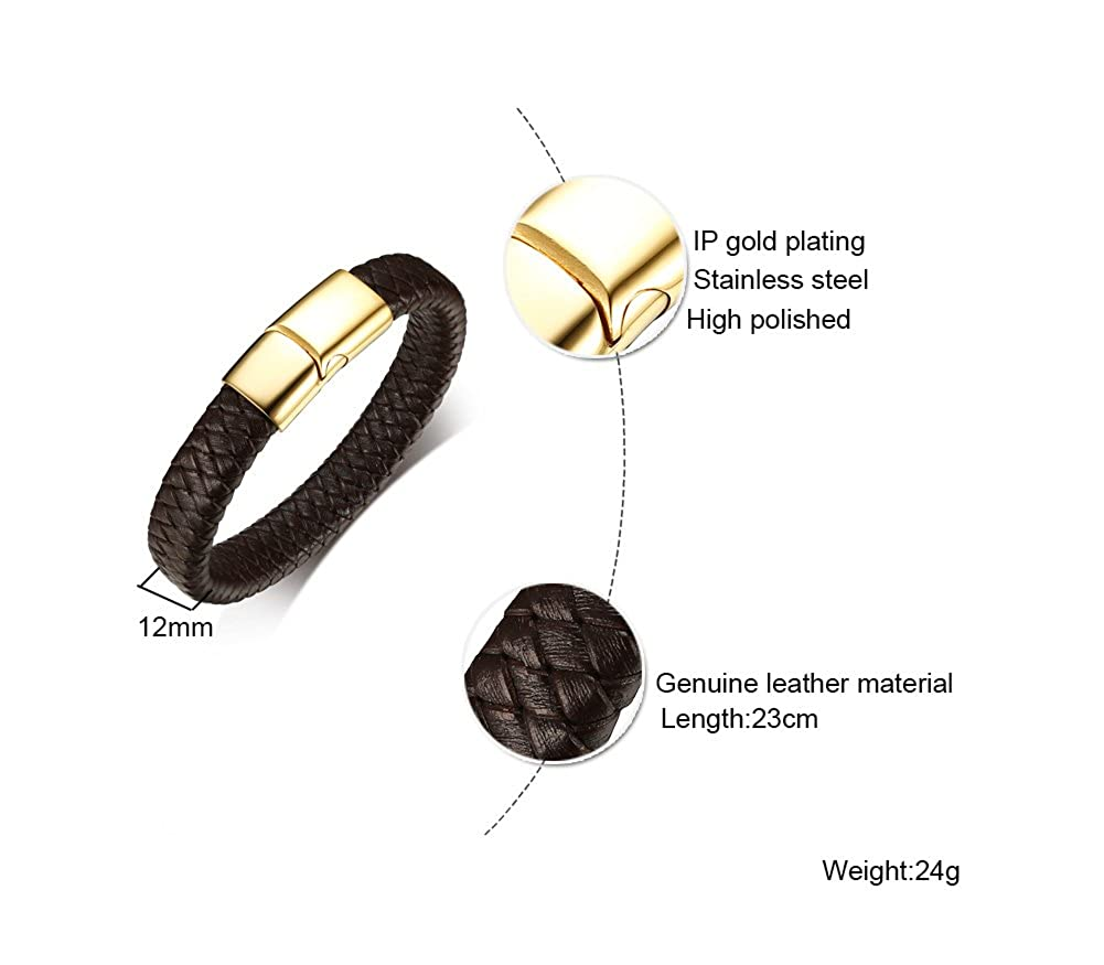 Free Engraving VNOX Dark Brown Handmade Braid Genuine Leather Cuff Bracelet Wristband with Gold Plated Magnetic Clasp