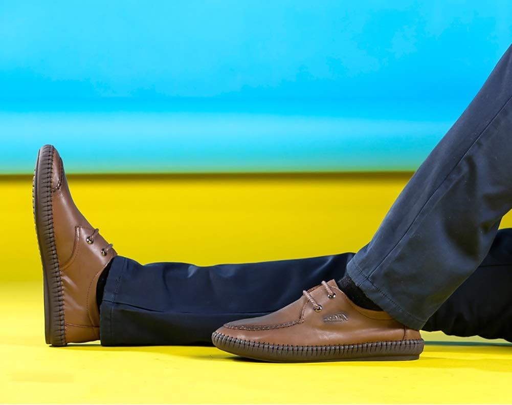 LXLA- Männer Geschäft Casual Lace up Runde Lederschuhe Herren Verschleißfeste Runde up Kopf Loafers Für Männer (Farbe : Light Braun, größe : 38) Dunkelbraun d38d7b