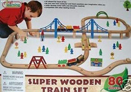Amazoncom Chatangletm Super Wooden Train Set 80 Pieces