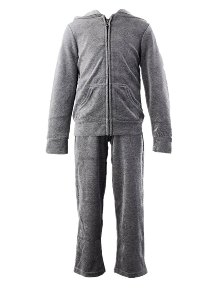 Monvecle Girls' Velour Zip Hoodie Long Tracksuit Sweatshirt Sweatpant Sets Charcoal 5-6 Years by Monvecle