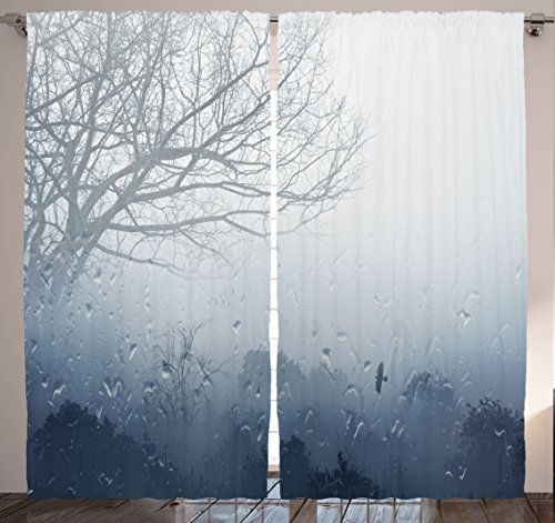 Nature Decor Curtains by Ambesonne, Rainy Scene Mystic Foggy Forest and Water Drops View Lonely Tree Style, Window Drapes 2 Panel Set for Living Room Bedroom, 108 X 84 Inches, Dark Gray and Navy