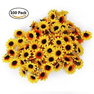 STUDYY 100 Pcs Artificial Silk Gerbera Daisy 100 Pcs Artificial Flowers Heads DIY Wreath Gift Box Scrapbooking Craft, 1.57 inch 1