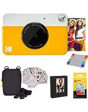 KODAK Printomatic Instant Camera (geel) geschenkbundel + Zink Papier (20 vellen) + Deluxe Case + 7 leuke stickersets + Twin Tip Markers + fotoalbum + hangende lijsten.