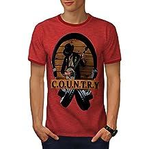 Wellcoda Country Song Dance Music Men S-2XL Ringer T-Shirt