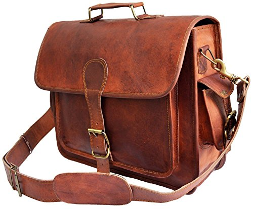 """VH Vintage 16 """"bolso de cuero del ordenador portátil del mensajero Handmade Briefcase Crossbody bolso"""