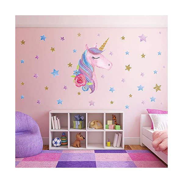 SONG'S IDEA Large Size Unicorn Wall Decal,2Packs,Unicorn Wall Sticker Decor with Hearts and Stars for Girls Rooms Baby… 9