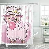 Emvency Waterproof Shower Curtain with Hooks Lamb Cute Cartoon Pink Alpaca Bubble Gum America Animals Baby Character 72'X72' Cute Decorative Bathroom Odorless