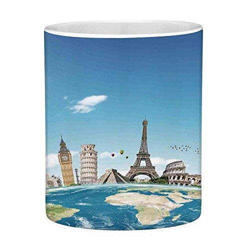 Lead Free Ceramic Coffee Mug Tea Cup White Travel 11 Ounces Funny Coffee Mug Famous Monuments Of Pisa Taj Mahal Giza Pyramids Paris Landmarks Theme Light Blue Ivory White