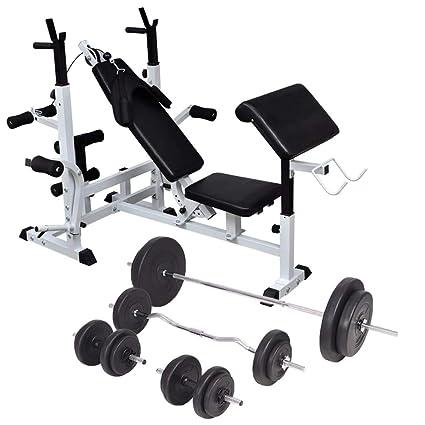 Festnight- Banco Musculación con Soporte Pesas, Pesas Mancuernas Ajustables 90 kg