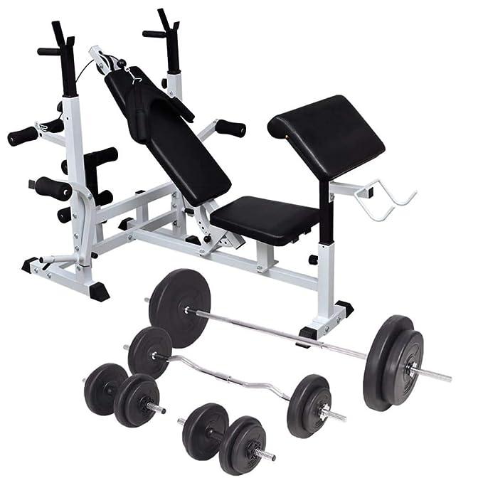 vidaXL Banco Soporte Barras Mancuernas 90 kg Musculación Pesas ...