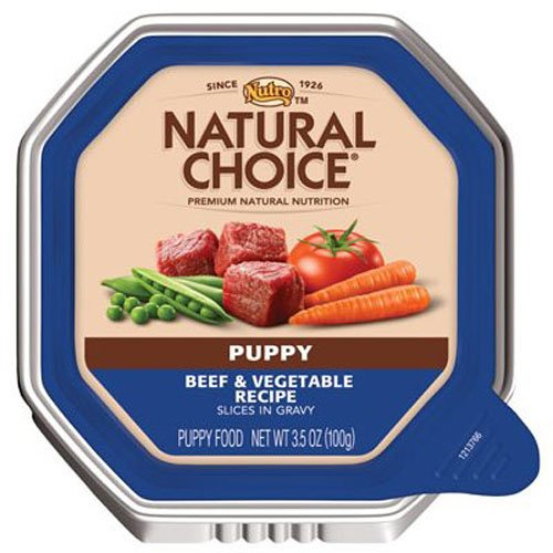 NATURAL CHOICE Puppy Beef and Vegetable Recipe Slices in Gravy Tray - 3.5 oz. (100 g), Pack of 24