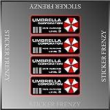 """4 Resident Evil Umbrella Corporation Parking Deal Vinyl Decal Bumper Sticker 2""""x5"""" Each"""