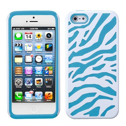 White Zebra Teal Fusion Dual Layer Apple iPhone 5 Hybrid Faceplate Cover Case Soft Rubber Protector Skin Hard Cover Case fits Sprint, Verizon, AT&T Wireless ()