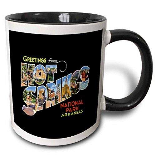 3dRose BLN Vintage US Cities and States Postcards - Greetings From Hot Springs National Park Arkansas Bold Scenic Lettering on Black Background - 15oz Two-Tone Black Mug (mug_160723_9)