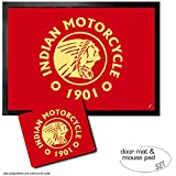 Set: 1 Door Mat Floor Mat (28x20 inches) + 1 Mouse Pad (9x7 inches) - Motorcycles, Indian Motorcycle, 1901