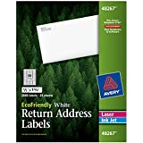 Avery EcoFriendly Mailing Labels for Laser and Ink Jet Printers, 0.5 x 1.75 Inches, White, Permanent, Pack of 2000 (48267)