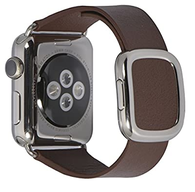 JSGJMY Smart Watch Band 38mm Leather Bracelet Replacement Strap for Smart Watch Sport & Edition (Brown+Silver Buckle,38MM S)