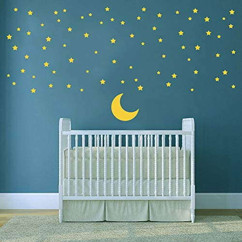 ufengke Moon and Stars Wall Stickers Good Night Removable Vinyl Wall Art Decals Wall Decor for Kids Bedroom Nursery