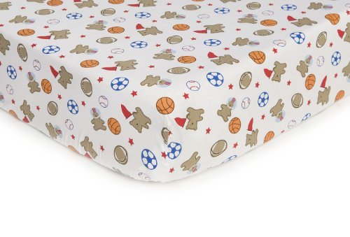 Carter's Easy Fit Printed Crib Fitted Sheet, Bear Sports Color: Bear Sports NewBorn, Kid, Child, Childern, Infant, Baby