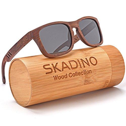 SKADINO Wood Sunglasses for Women&Men with Polarized lenses-Handmade Floating Wood Shades-Walnut Wood with Grey Lens - Ray Bamboo Bans