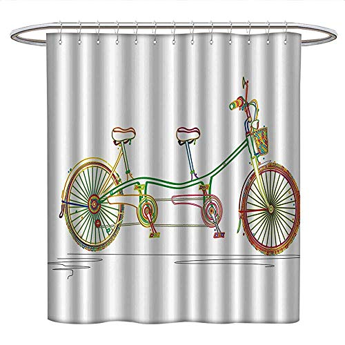 Anshesix Decorativefunny Shower curtainColorful Tandem Bicycle Design on White Background Pattern Clipart Style PrintPlastic Shower curtainMulticolor ()