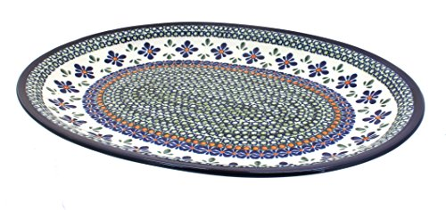Polish Pottery Mosaic Flower Large Oval Serving Platter (Large Oval Mosaic)