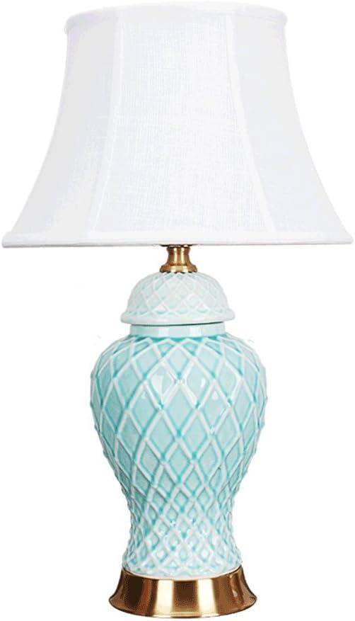 PIAOLING Lámpara de Mesa de cerámica de jardín francés, Dormitorio ...