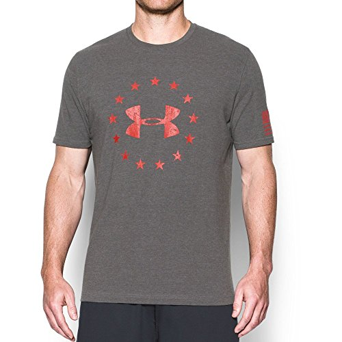 Under Armour Men's Freedom Logo T-Shirt,Charcoal Medium Heat (019)/Red, X-Large (Armour Men Under Logo)
