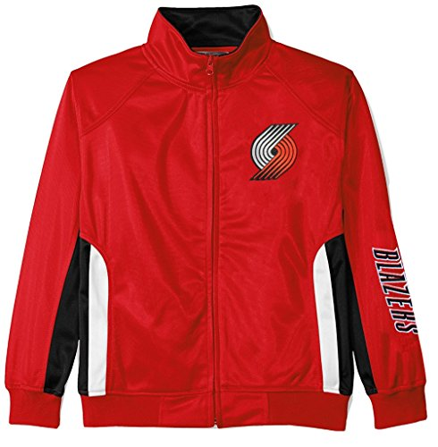 VF Portland Trail Blazers NBA Majestic Boys Full Zip Tricot Track Jacket Red Youth Sizes (M)
