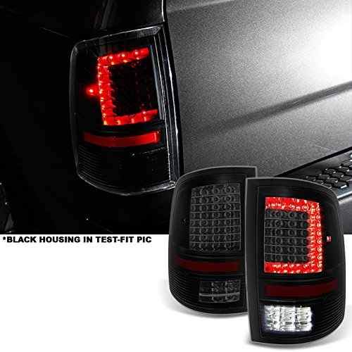 Fits 2009-2018 RAM 1500   10-18 2500/3500 C-Shaped Black Smoked LED Tail Lights Left + Right Side Replacement