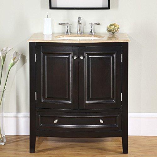 Silkroad Exclusive Travertine Stone Top Single Sink Bathroom Vanity with Furniture Cabinet, 32-Inch by Silkroad Exclusive