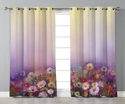 Thermal Insulated Blackout Grommet Window Curtains,Watercolor Flower Home Decor,Bed with Different Blossoms Types Fresh Romantic Garden Paint,Lilac Pink,2 Panel Set Window Drapes,for Living Room Bedro
