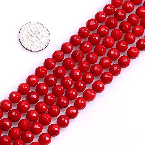Faceted Red Coral Round Beads - 2